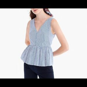 J crew blue and white striped peplum top